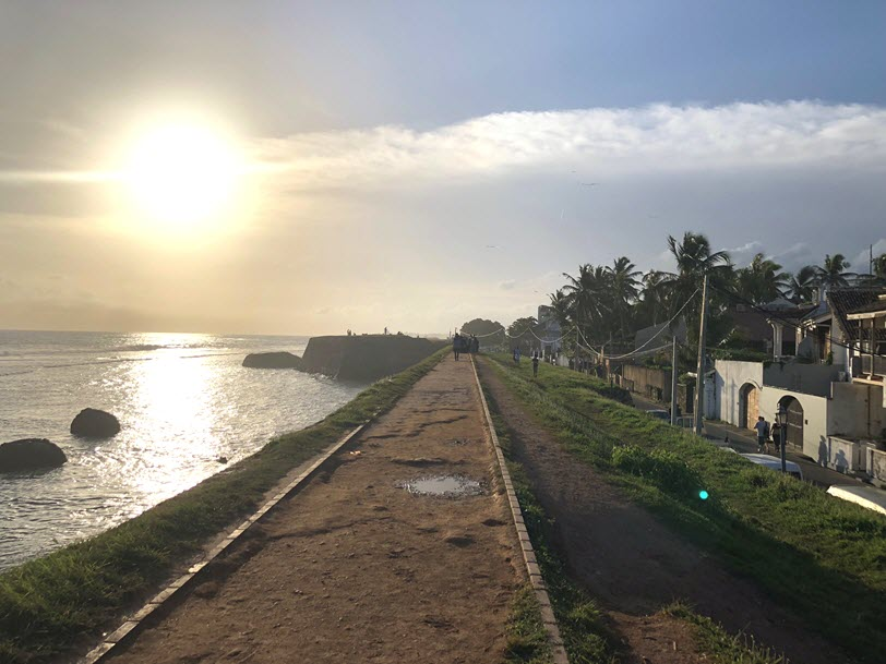 Walking along the Galle fort rampart