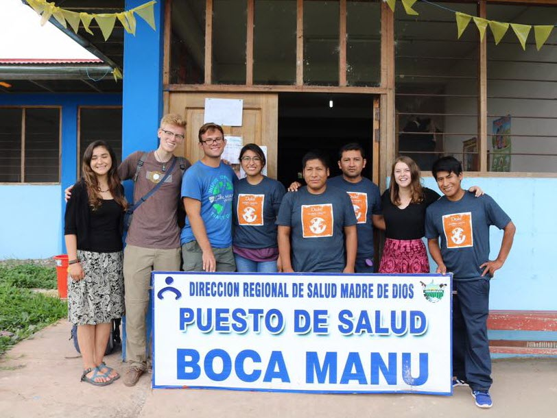 Team in front of Boca Manu Medical Post