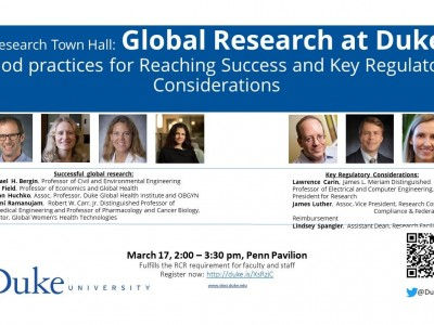 flyer presenting topic and speakers of the town hall on Global Research at Duke