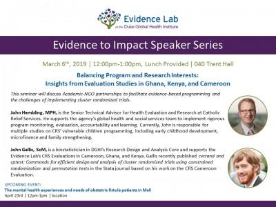 Evidence to Impact Speaker Series, Duke Global Health Institute