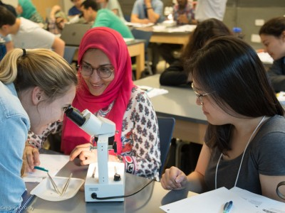 One Health Trainees View Mosquito in Microscope