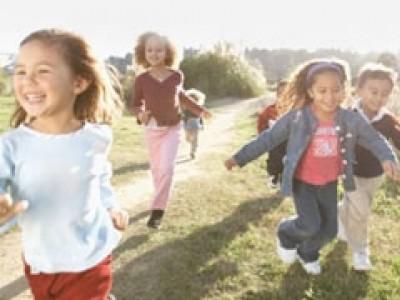 Children running and happy