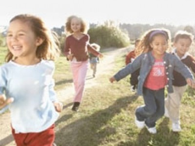 Children running and happy