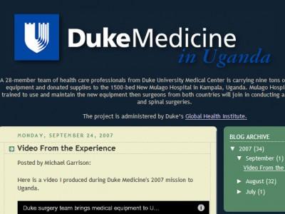 Duke in Uganda blog