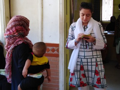 Sara Abdullah in immunization center
