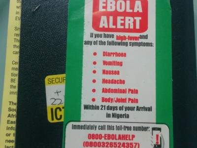 Passport Stamped with Ebola Sticker