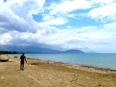 a beach outside of Leogane, Haiti