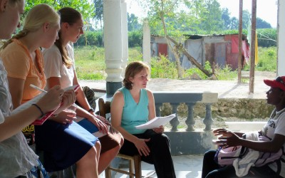 Through the Duke Haiti Lab, DGHI faculty member Deborah Jenson works with students on research that explores post-traumatic stress disorder among survivors of the Haiti earthquake.
