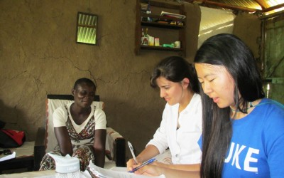 Global health students Saira Butt, Kelly Schuering, Sarah Wang worked at a dispensary in Kenya run by DGHI partner Mama na Dada.