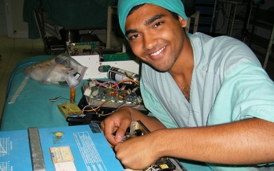 Duke engineering students, like Neel, work at hospitals in Nicaragua to train staff on using idle equipment. They also repair medical equipment and are studying local healthcare technology needs.