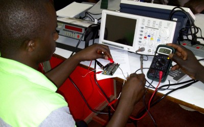 Duke engineering faculty and students developed a BMET curriculum that is now being used in Rwanda to train biomedical engineers and technicians on how to repair broken medical equipment.