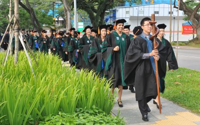 Graduation procession on the Duke-NUS campus