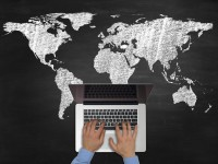 Laptop and World Map