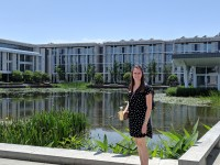 Christine Crute stands in front of Duke Kunshan University in Kunshan, Jiangsu, China.