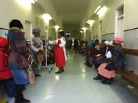 Main building and life line of the Zithulele Hospital. Patients wait in long lines to visit the physicians.