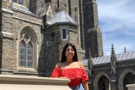 Sujeiry Jimenez '20, at Duke in pre-pandemic days, will graduate virtually this month with her 2020 classmates. (Photo courtesy of Sujeiry Jimenez)